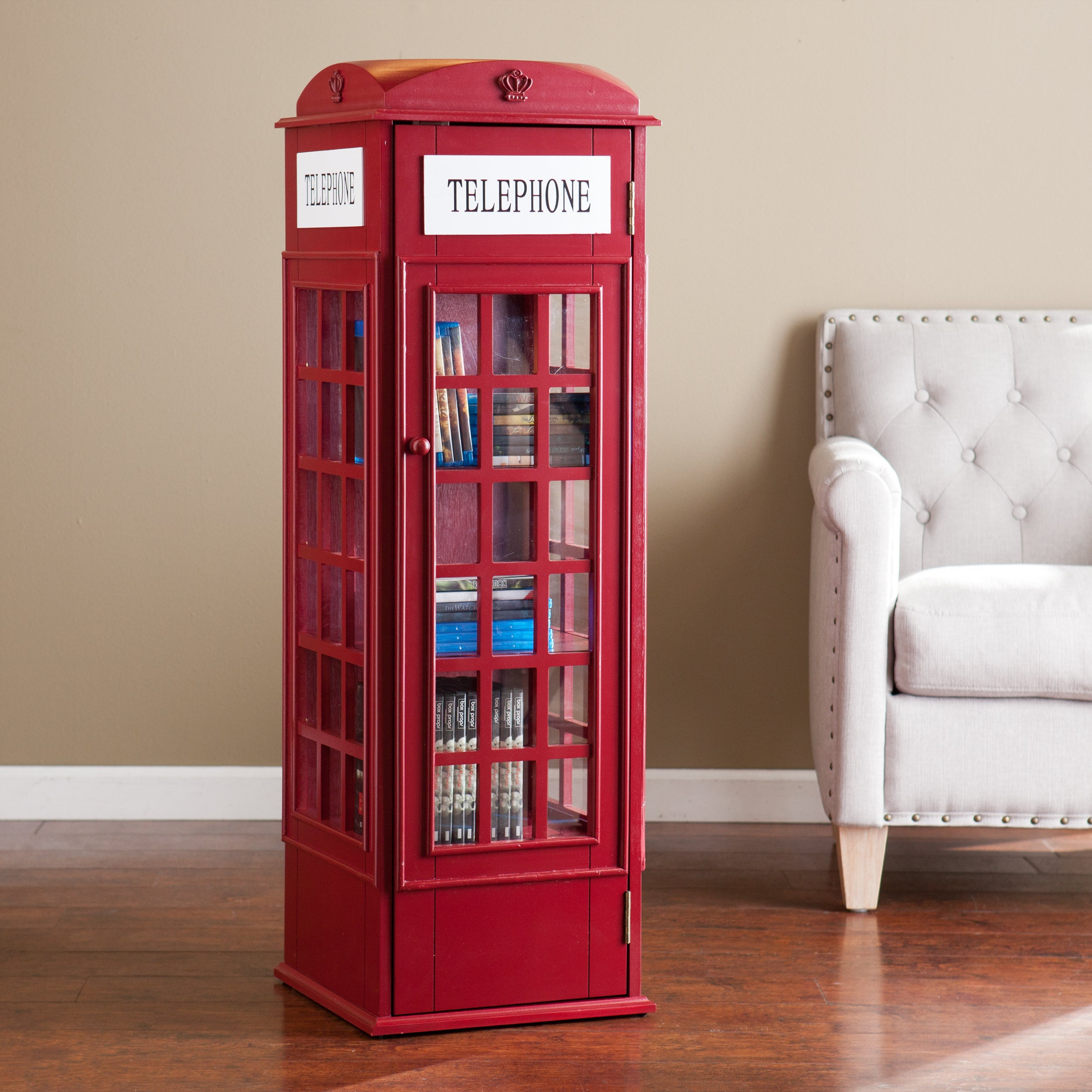 Harper Blvd Red Phone Booth Media Storage Cabinet (OS1367ZH)