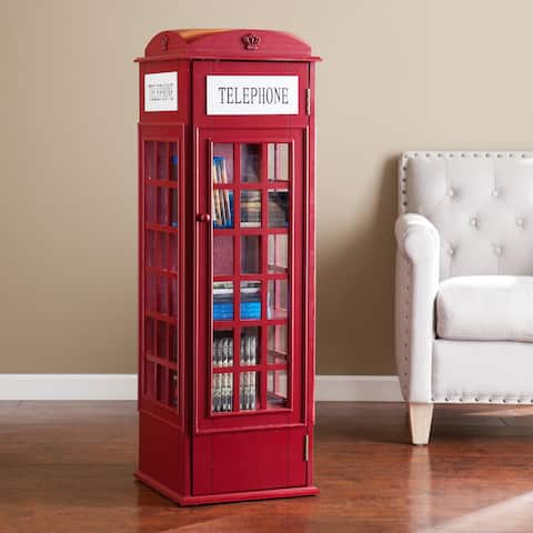 Harper Blvd Red Phone Booth Media Storage Cabinet