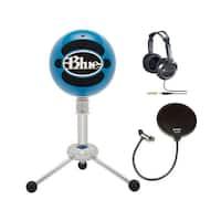 Blue Microphones Snowball USB Microphone (Electric Blue) + JVC Full-Size Studio Headphones & Microphone Pop Filter