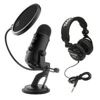 Blue Microphones Yeti USB Microphone (Blackout Edition) + JVC Full-Size Headphones and Pop Filter