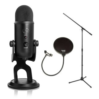 Blue Microphones Yeti 16-Bit USB Microphone (Blackout Edition) + Stand and Pop Filter