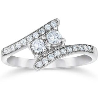 10k White Gold 1/2ct TDW 2-stone Diamond Ring (I-J, I1-I2)