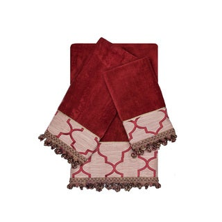 Austin Horn En'Vogue Ascot Ruby Red 3-piece Decorative Embellished Towel Set