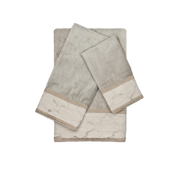 Austin Horn En'Vogue Ascot Grey Gimp 3-piece Decorative Embellished Towel Set