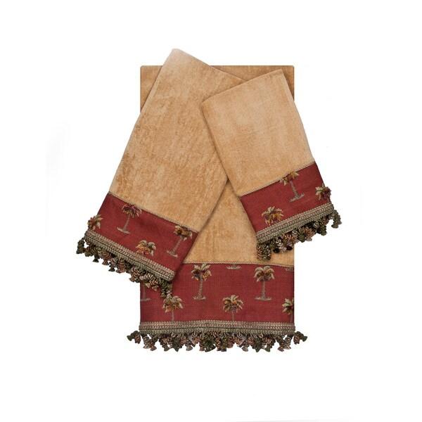 Austin Horn Classics Tropicana Red Gold 3-piece Decorative Embellished Towel Setlished Towel Set
