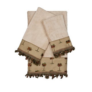 Austin Horn Classics Tropicana Taupe 3-piece Decorative Embellished Towel Set