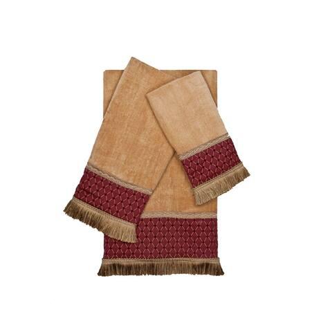 Sherry Kline Melrose Gold 3-piece Decorative Embellished Towel Set