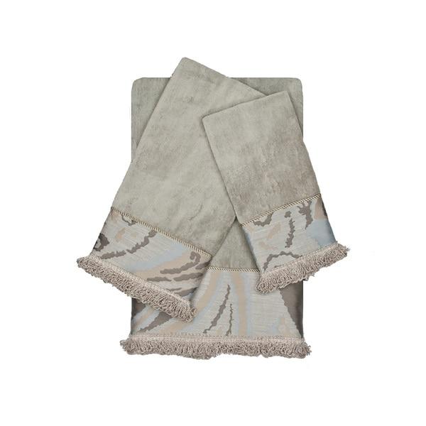 Sherry Kline Asbury Grey 3-piece Decorative Embellished Towel Set