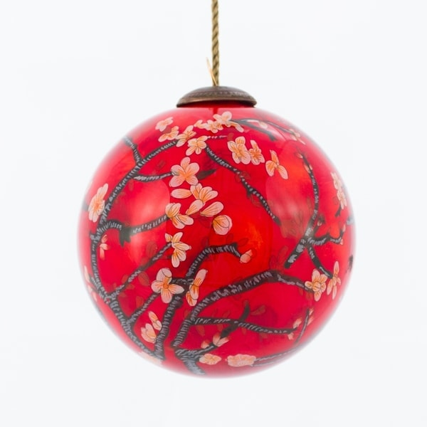 Vincent Van Gogh 'Branches of an Almond Tree in Blossom, Red' Hand Painted Glass Ornament. Opens flyout.