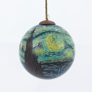vincent van gogh starry night hand painted glass ornament - Teal Christmas Ornaments