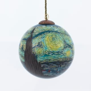 vincent van gogh starry night hand painted glass ornament - Christmas Decorations Online