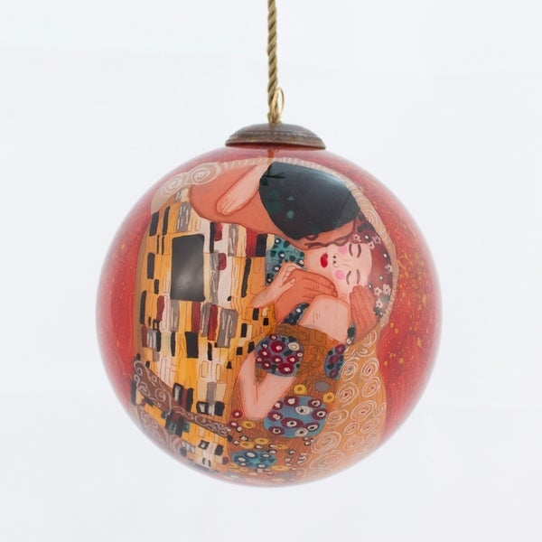 Gustav Klimt 'The Kiss' Hand Painted Glass Ornament. Opens flyout.