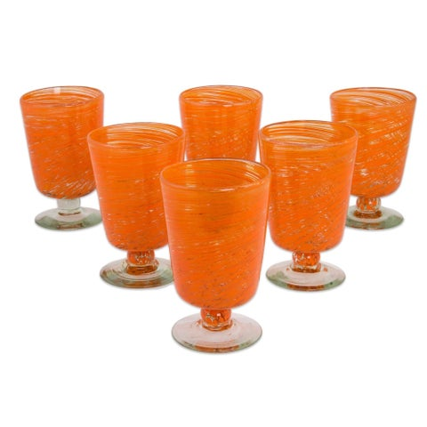 Handmade Set of 6 Blown Glass 'Orange Centrifuge' Dessert Glasses (Mexico)
