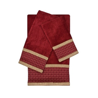 Sherry Kline Melrose Red 3-piece Decorative Embellished Towel Set