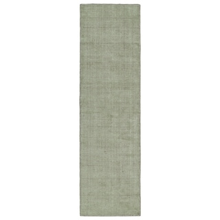 "Solid Chic Celery and Brown Hand-Tufted Rug - 2'3"" x 8'"