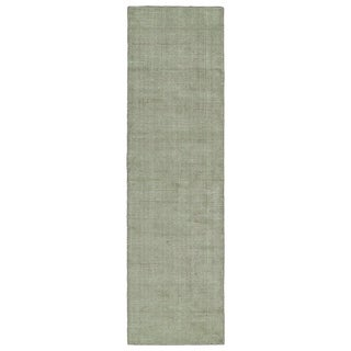 Solid Chic Celery and Brown Hand-Tufted Rug (2'3 x 8')