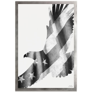 Adam Schwoeppe 'Freedom Eagle Black & White' Contemporary Metal American Flag Art