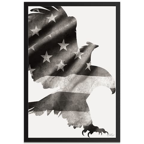 Adam Schwoeppe 'Patriot Eagle Black & White' Contemporary Metal American Flag Art