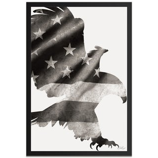 Adam Schwoeppe 'Patriot Eagle Black & White' Contemporary Metal American Flag Art
