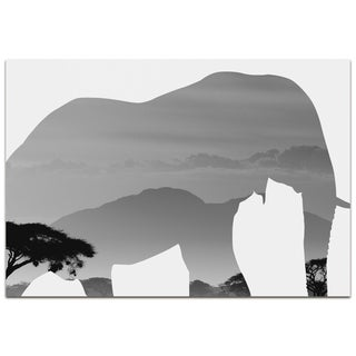 Adam Schwoeppe 'Elephant Savanna' Contemporary Metal Animal Silhouette Art