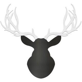 Adam Schwoeppe 'Modern Buck' Large Black & White Deer Silhouette Art Wall Sculpture