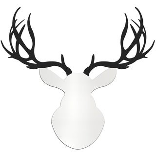Adam Schwoeppe 'Contemporary Buck' Large White & Black Deer Silhouette Art Wall Sculpture