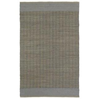 "Handmade Slate Wool & Jute Border Frisco Rug (21"" x 34"")"
