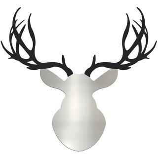 Adam Schwoeppe 'Enforcer Buck' Large Silver & Black Deer Silhouette Art Wall Sculpture