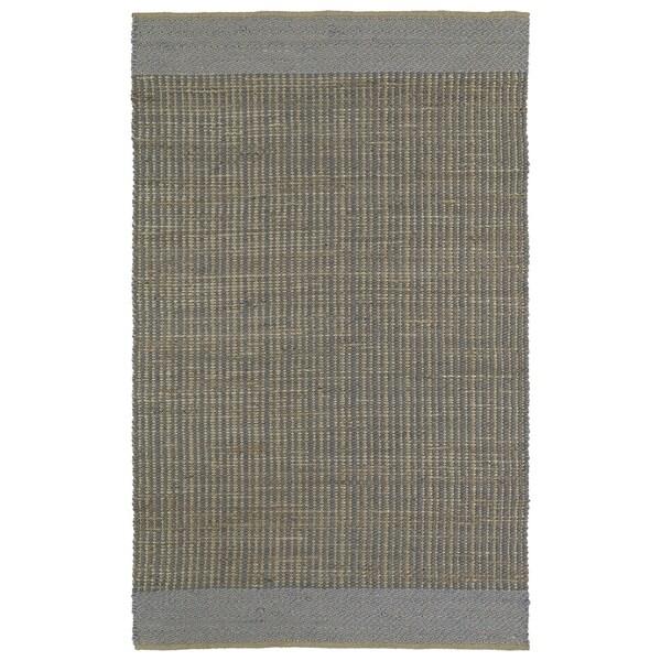 Handmade Slate Wool & Jute Border Frisco Rug - 5' x 7'6