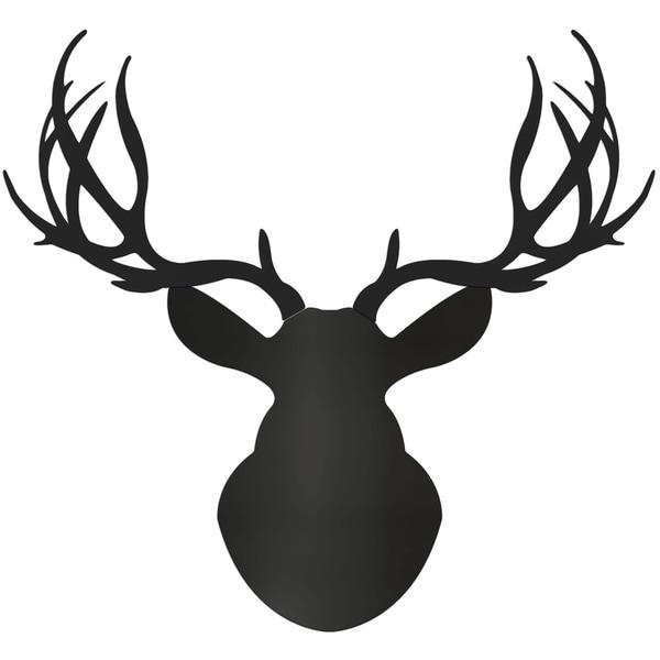 Adam Schwoeppe 'Midnight Buck' Large Black Deer Silhouette Art Wall Sculpture