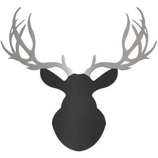 Adam Schwoeppe 'Urban Buck' Large Black & Silver Deer Silhouette Art Wall Sculpture