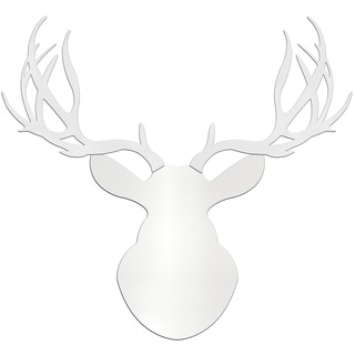 Adam Schwoeppe 'Snow Buck' Large Pure White Deer Silhouette Art Wall Sculpture