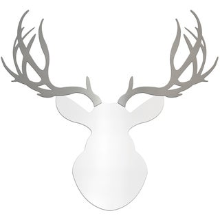Adam Schwoeppe 'Regal Buck' Large White & Silver Deer Silhouette Wall Sculpture