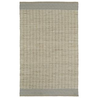 Handmade Ivory/Light Blue Wool & Jute Border Frisco Rug (5'0 x 7'6)