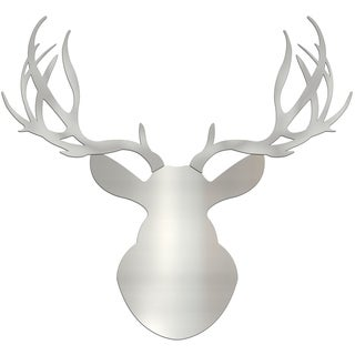 Adam Schwoeppe 'Silver Buck' Large Metallic Silver Deer Silhouette Art Wall Sculpture