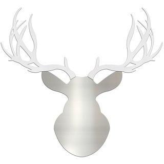 Adam Schwoeppe 'Winter Buck' Large Silver & White Deer Silhouette Art Wall Sculpture