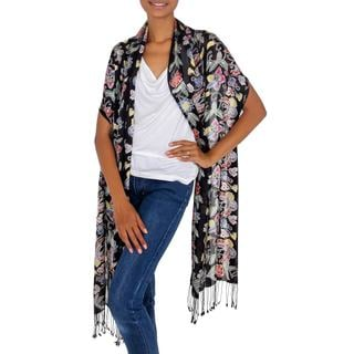 Handcrafted Silk 'Night In The Garden' Batik Shawl (Indonesia)