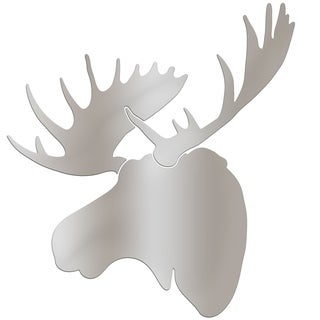 Adam Schwoeppe 'Silver Moose' Large Metallic Silver Moose Silhouette Art Wall Sculpture