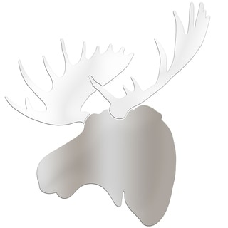 Adam Schwoeppe 'Winter Moose' Large Silver & White Moose Silhouette Art Wall Sculpture