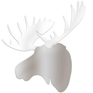 Adam Schwoeppe 'Winter Moose' Large Silver & White Moose Silhouette Art Wall Sculpture