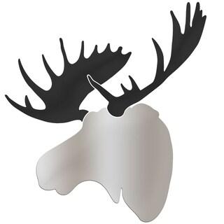 Adam Schwoeppe 'Enforcer Moose' Large Silver & Black Moose Silhouette Art Wall Sculpture