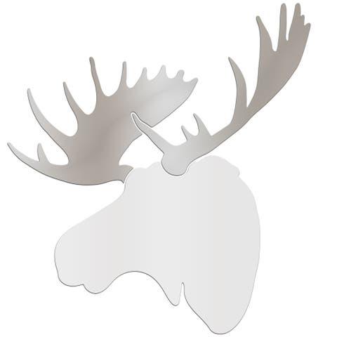 Adam Schwoeppe 'Regal Moose' Large White & Silver Moose Silhouette Art Wall Sculpture