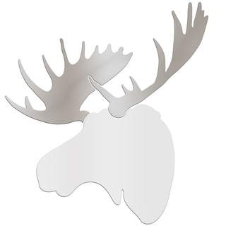Adam Schwoeppe 'Regal Moose' Large White & Silver Moose Silhouette Art Wall Sculpture