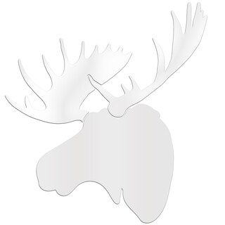 Adam Schwoeppe 'Snow Moose' Large Pure White Moose Silhouette Art Wall Sculpture
