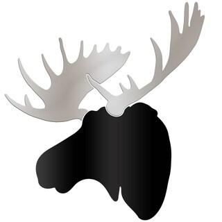Adam Schwoeppe 'Urban Moose' Large Black & Silver Moose Silhouette Art Wall Sculpture