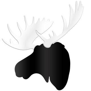 Adam Schwoeppe 'Modern Moose' Large Black & White Moose Silhouette Art Wall Sculpture