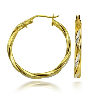 Mondevio Two-Tone High Polished Diamond-Cut Twisted 3mm Hoop Earrings