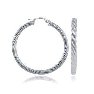 Mondevio High Polished Round Twist 3mm Hoop Earrings