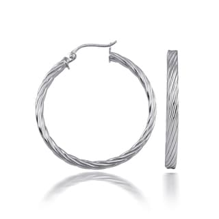 Mondevio High Polished Flat Twist 3mm Hoop Earrings