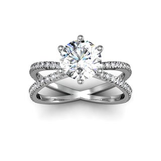 Modern X Band 1.25 Carat Solitaire Engagement Ring With 48 Side Diamonds in 14K White Gold (H-I, I1-